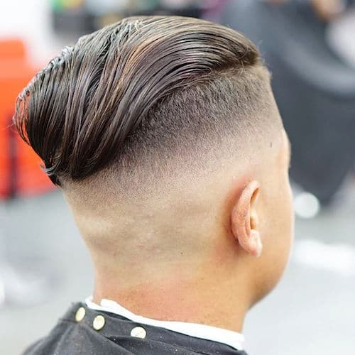 Mid Skin Fade Undercut + Long Wavy Slick Back