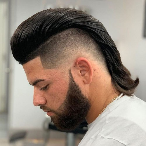 Mullet with Pompadour Fade