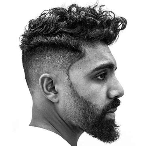 Razor Fade + Messy Wavy Hair + Full Beard