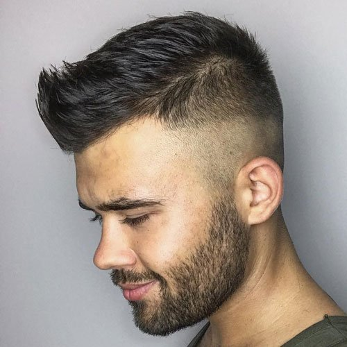 Razor Fade + Short Spiky Hair + Short Thick Beard