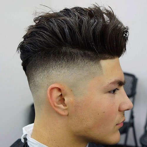 Razor Faded Undercut + Shape Up + Thick Brushed Up Hair