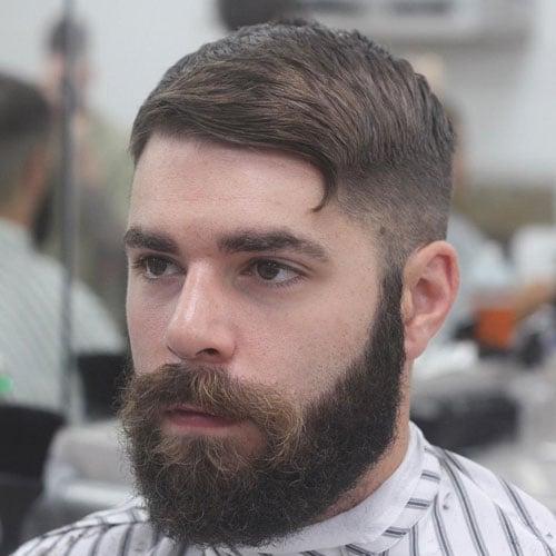 Short Sides + Flat Crew Cut + Full Beard