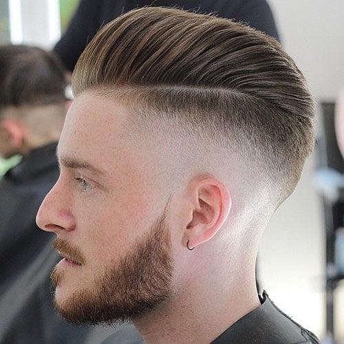 Undercut Fade + Pomp Comb Over + Beard