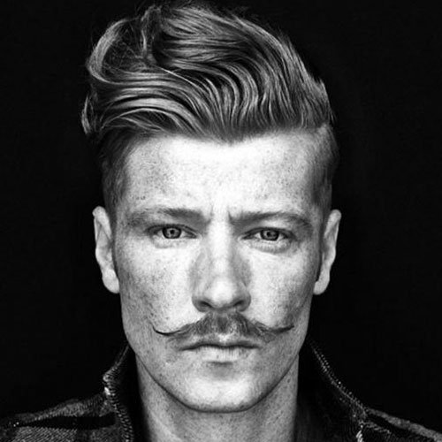 Wavy Textured Hair + Short Sides + Thin Mexican Mustache