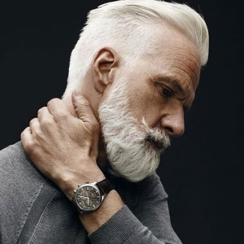 White Hair + Slick Back + Tapered Sides + Full Beard