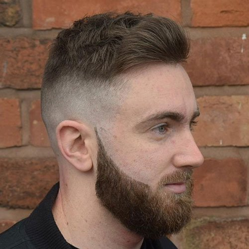 Bald Fade with Textured Crew Cut and Full Beard