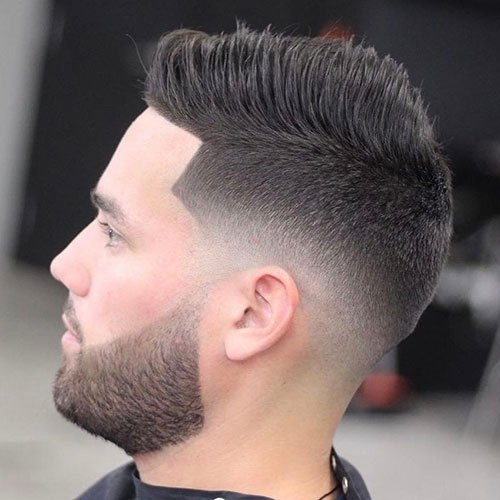 Low Bald Fade with Comb Over and Beard