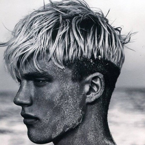 Modern Blonde Mushroom Cut + Low Fade
