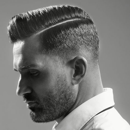 Short Side Part + Low Fade + Beard