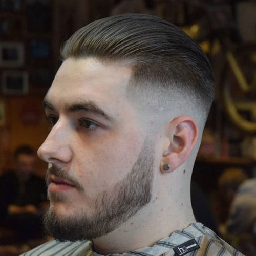 Slicked Back Hair with Skin Fade and Beard