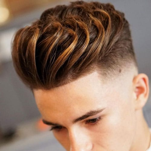 Textured Quiff with High Fade and Line Up