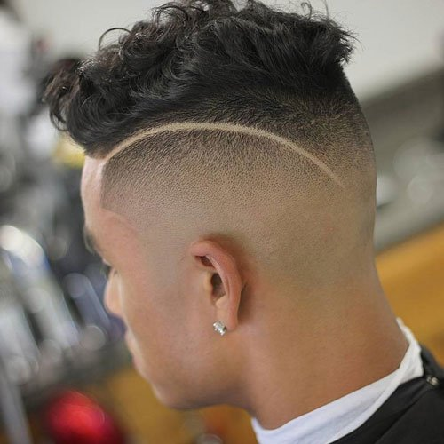 Undercut with Short Wavy Hair and Design
