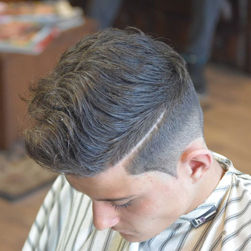 Wavy Comb Over with Classic Taper Fade and Part
