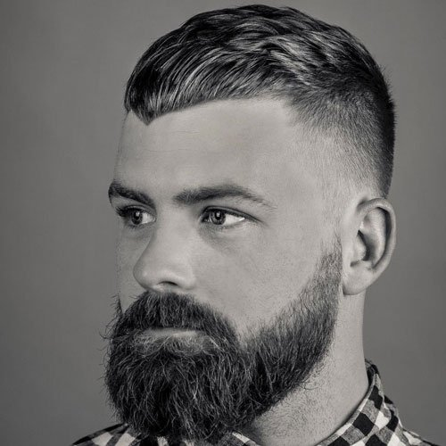 Angled Crop Top + Taper Fade + Long Full Beard