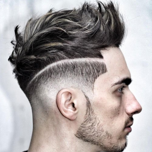 Best Men's Short Sides, Long Top Hairstyles - Low Bald Fade + Line Up + Surgical Part + Textured Modern Quiff