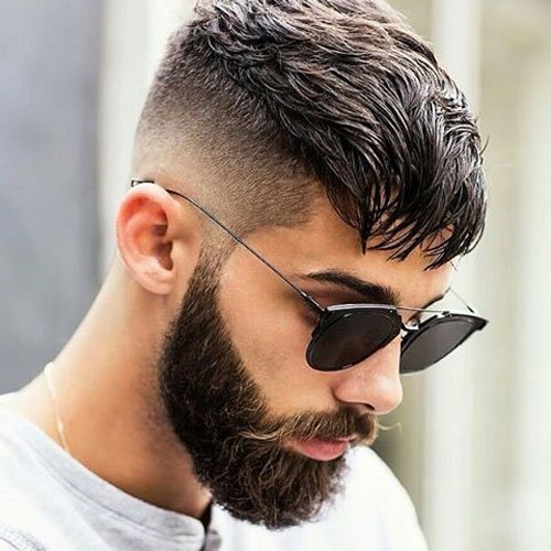 Casesar Haircut + Low Skin Fade + Beard