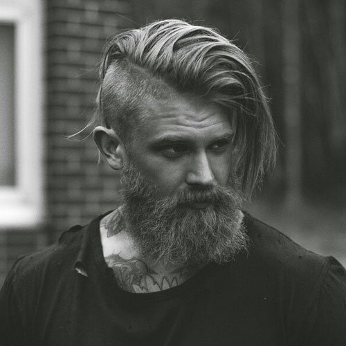 Comb Over Undercut + Thick Bushy Beard