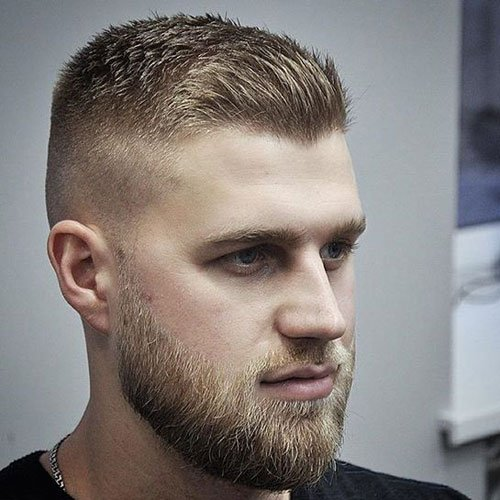 Crew Cut + Spiked Front + Fade + Short Beard