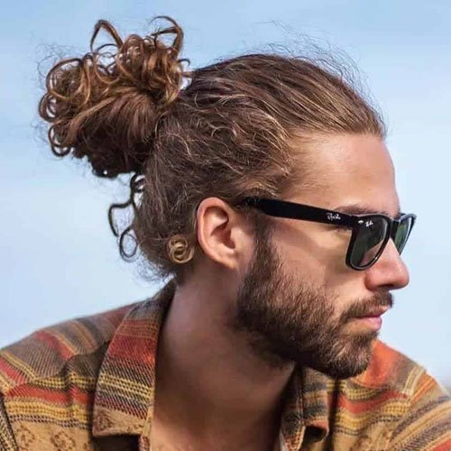 Curly Hair Man Bun