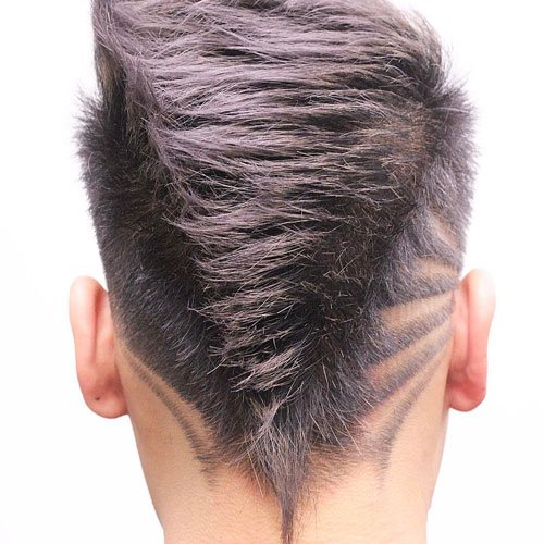Faded Mohawk + Hair Design + V-Shape