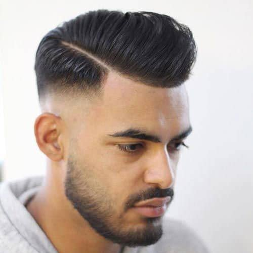 High Fade Pompadour + Hard Part