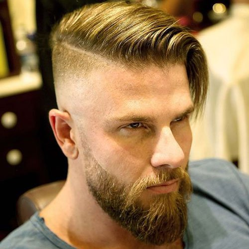 Long Comb Over + Undercut + Full Beard