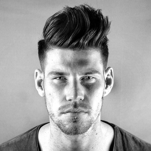 Long Front, Short Back and Sides Hairstyle - Taper Fade + Thick Brushed Up Hair in Front
