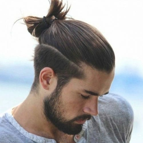 Long Hair on Top with Short Sides - Man Bun, Top Knot, Male Ponytail + Short Taper Fade + Full Beard