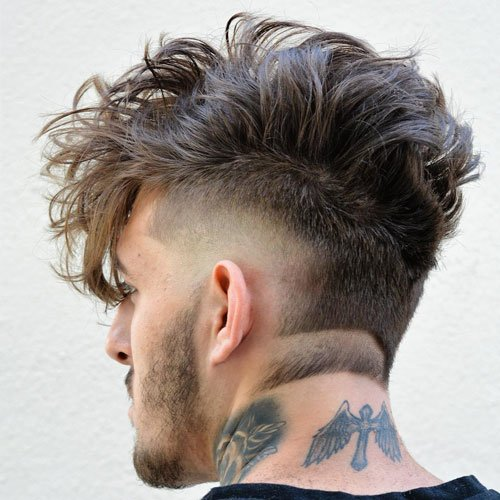 Long Wavy Comb Over + High Drop Fade + Neckline Cut