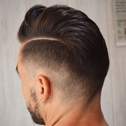 Mid Taper Fade + Hard Part Comb Over
