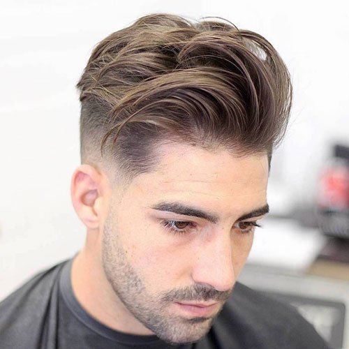 Mid Taper Fade + Long Textured Tousled Quiff on Top