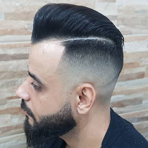 Pomp Fade + Hard Part Comb Over + Full Beard