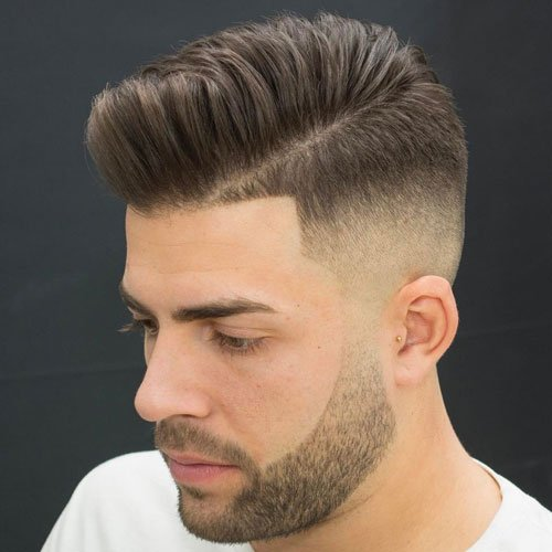 Pomp Fade with Side Part