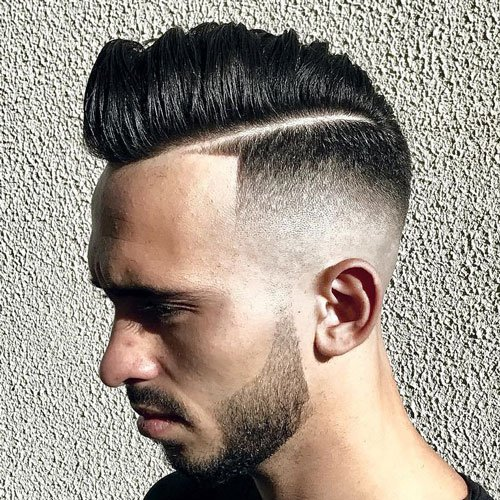 Razor Faded Pompadour + Hard Part
