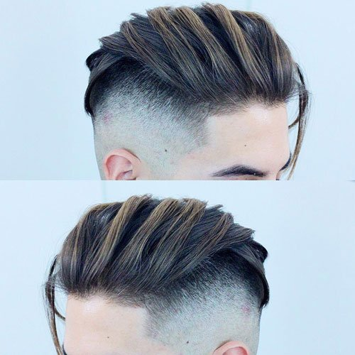 Short Sides, Medium Length Hairstyles - High Skin Fade + Long Textured Comb Over