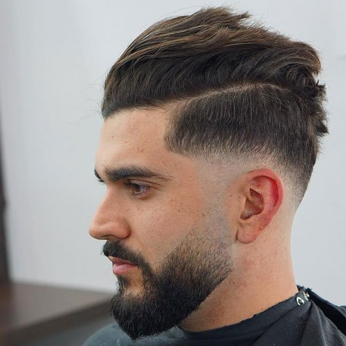 Short Sides and Back Haircuts - Low Skin Fade + Hard Part + Comb Over Pompadour + Full Beard