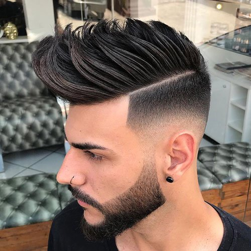 Short on Sides, Medium on Top Haircut - High Fade + Thick Shaved Hard Part + Long Spiky Hair + Full Beard