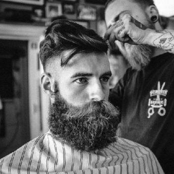 Side Part + Undercut + Full Messy Beard