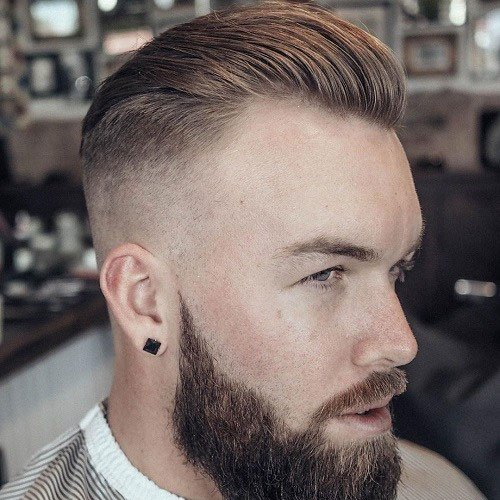 Slicked Back Hair + High Skin Fade + Full Beard
