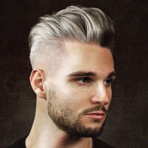 Slicked Back Pomp + High Fade + Beard