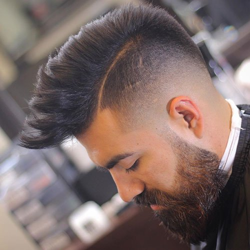 Temple Fade + Mohawk + Hard Part Line