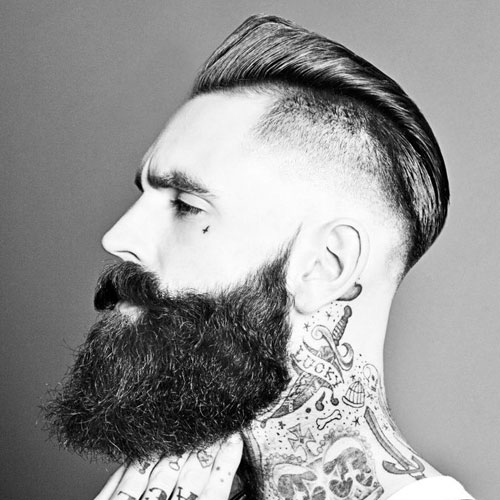 Undercut Fade + Brush Back + Long Beard