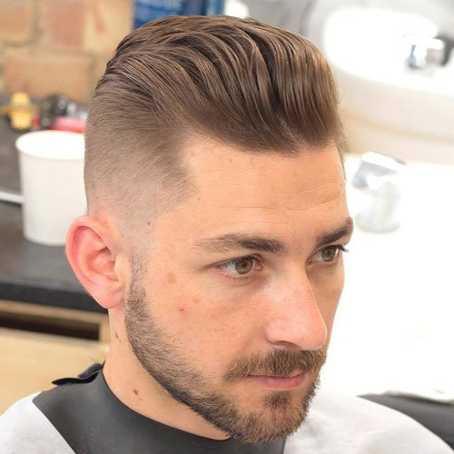 Wavy Pompadour + High Fade + Beard