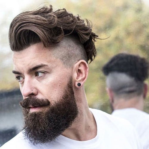 Wavy Textured Top + Shaved Undercut + Thick Beard