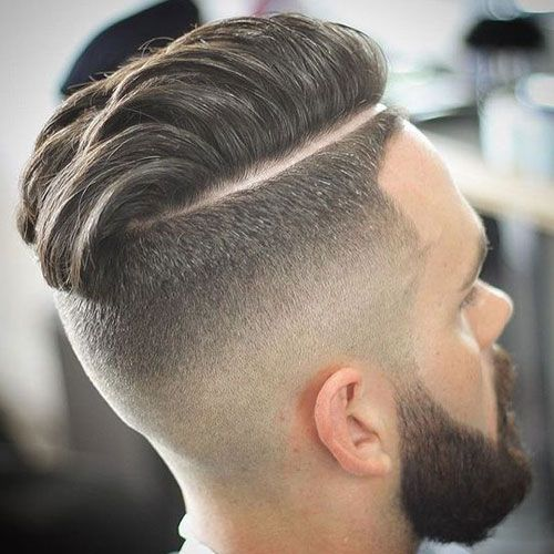Hard Part Comb Over Fade + Beard