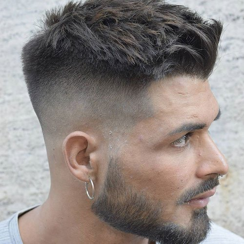 High Bald Fade + Side Swept Fringe + Short Top