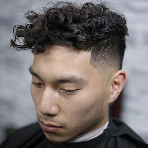 Long Curly Fringe + Undercut Fade