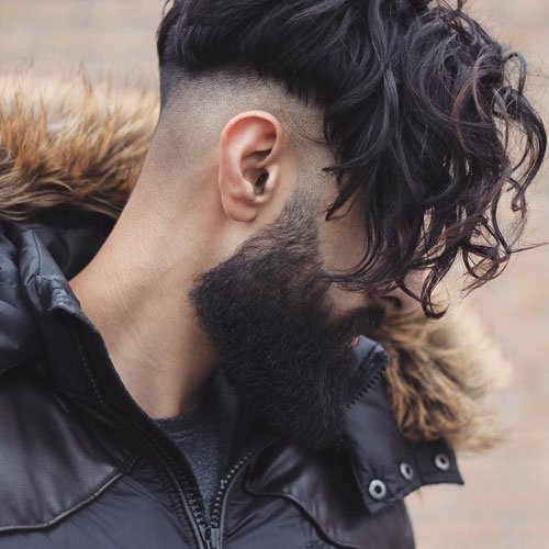 Long Wavy Fringe + Shaved Sides + Beard