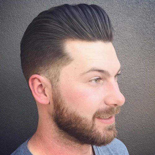 Low Taper Fade + Classic Pomp + Full Beard