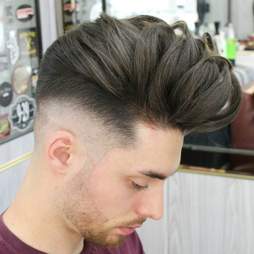 Messy Pomp + Mid Bald Fade